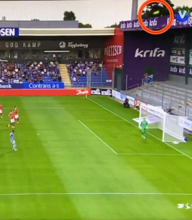 Free kick goes over stadium