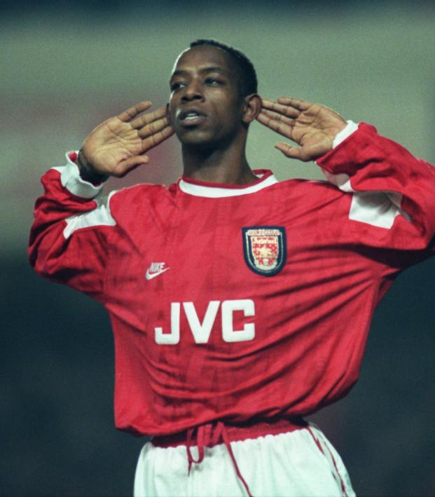 Ian Wright playing for Arsenal
