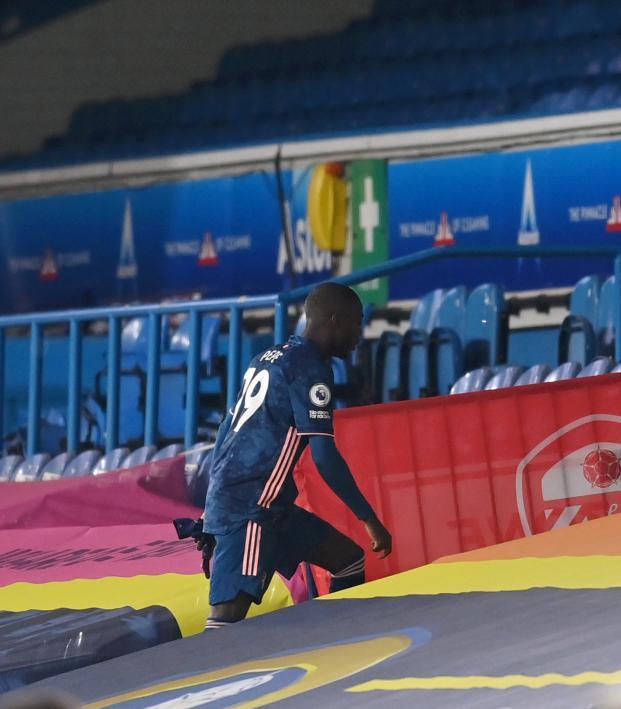 Nicolas Pepe red card