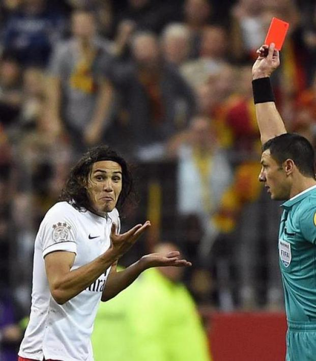 Cavani received a red card for his goal celebration.