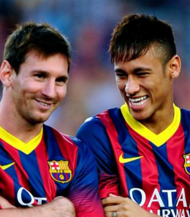 Messi, Neymar laughing