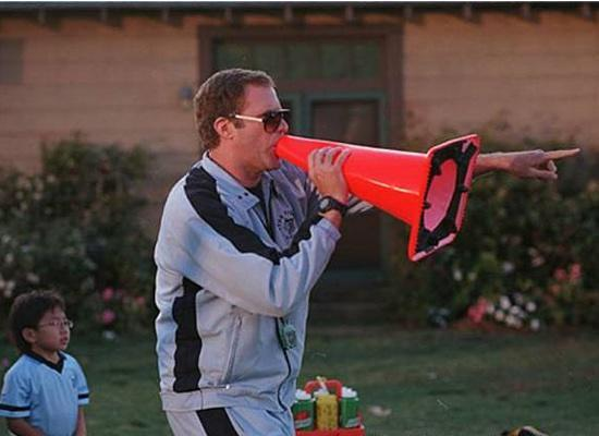 "Will Ferrell ""coaching"" with a cone."