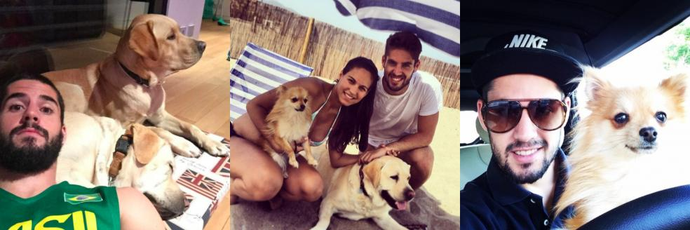 Isco with his wife and two dogs