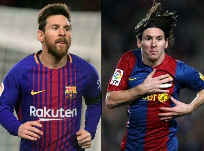 Lionel Messi in 2007 and in 2017