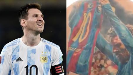 Messi Autografía Tatuaje De Fanático