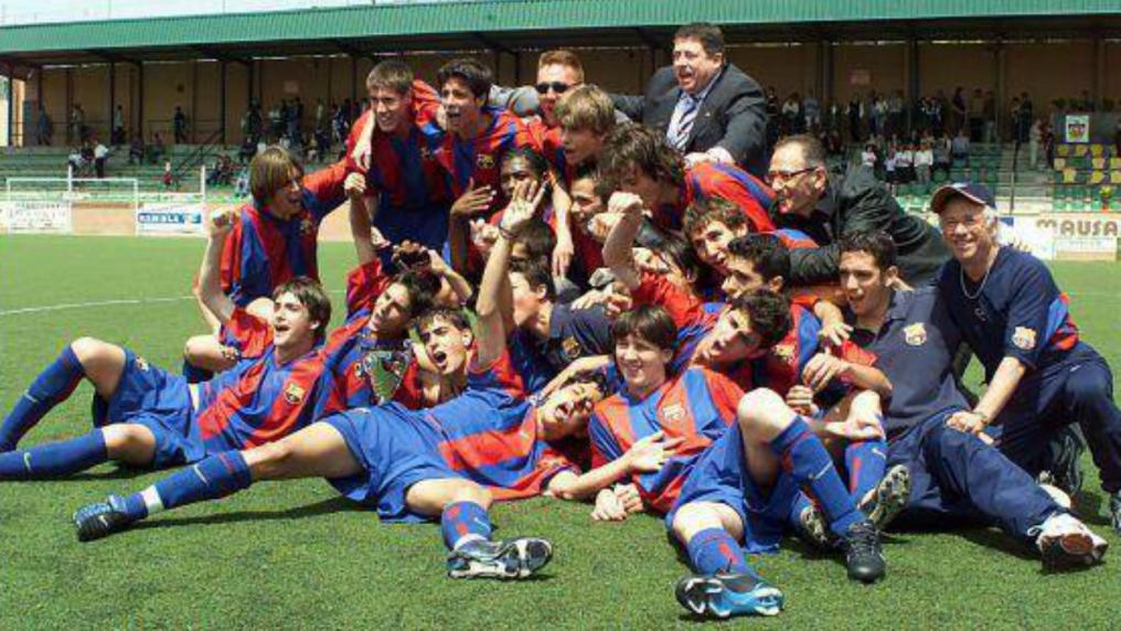 Messi Photos - Pique, Cesc and Messi celebrating in 2003