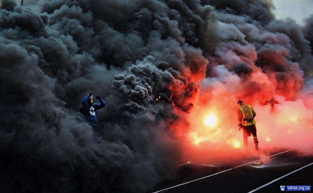 An Ultra submerged in smoke