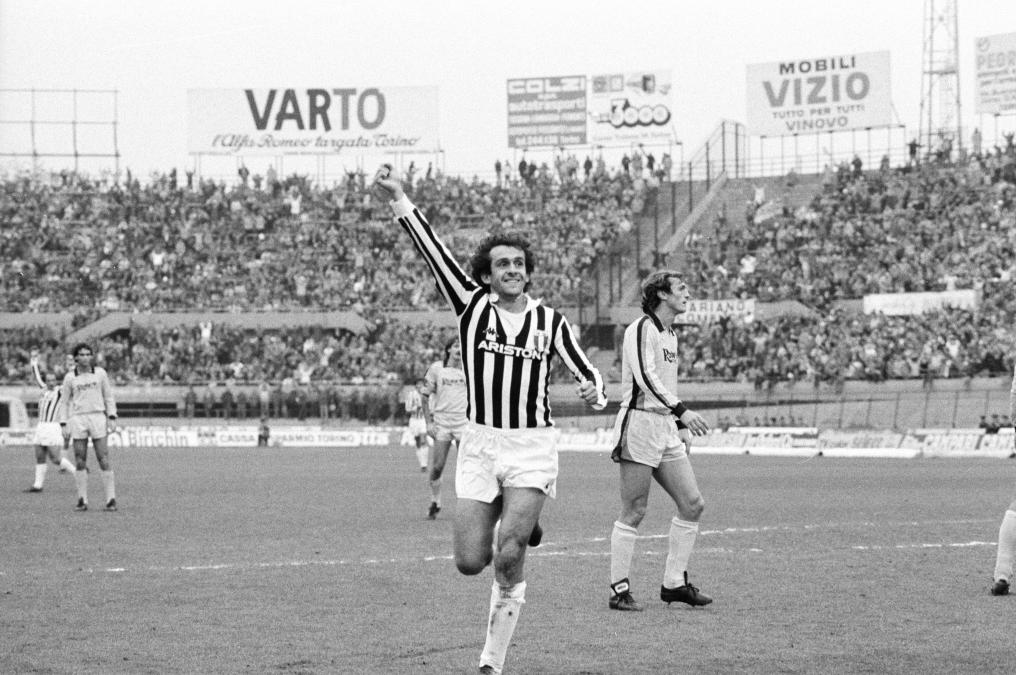 Michel Platini after scoring a goal