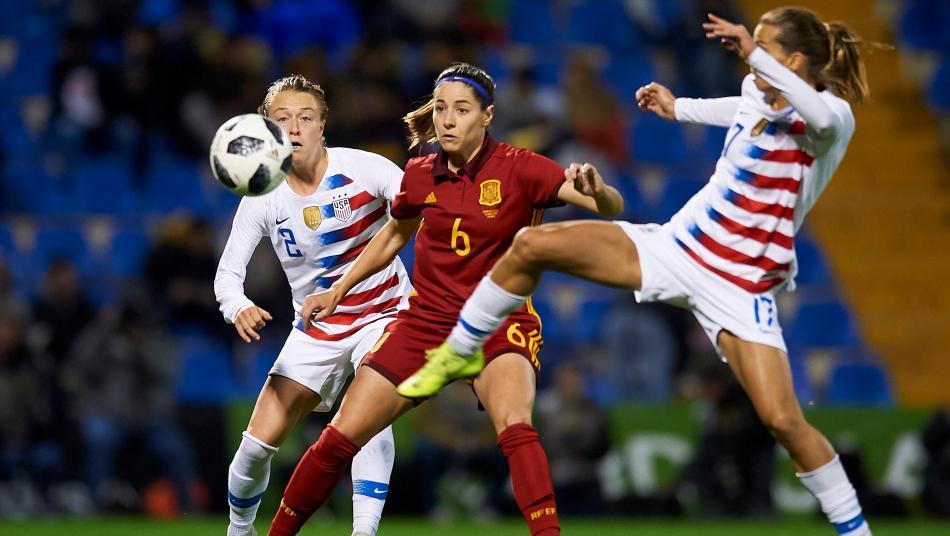 Tobin Heath and Emily Sonnett vs. Spain's Vicky Losada