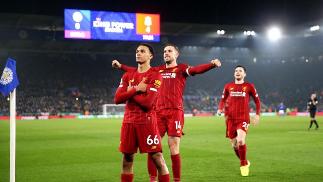 Trent Alexander-Arnold celebrates his goal against Leicester City