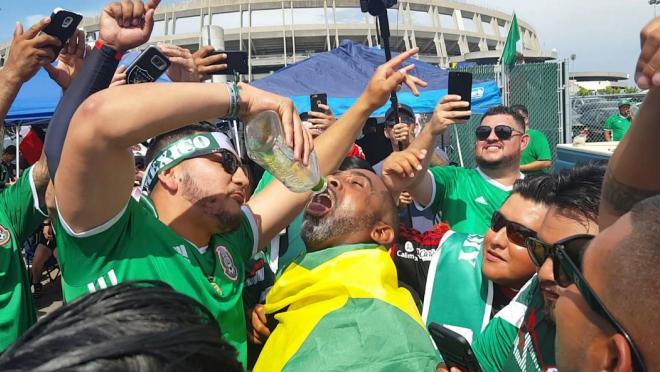Mexico fan serves tequila