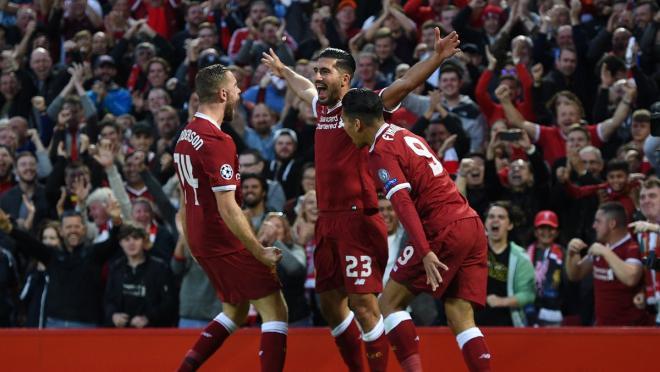 Liverpool Celebrate Emre Can Champions League Goal