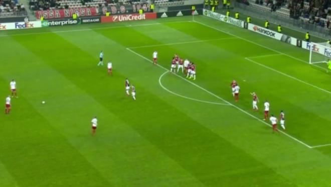 Long-range free kick goal