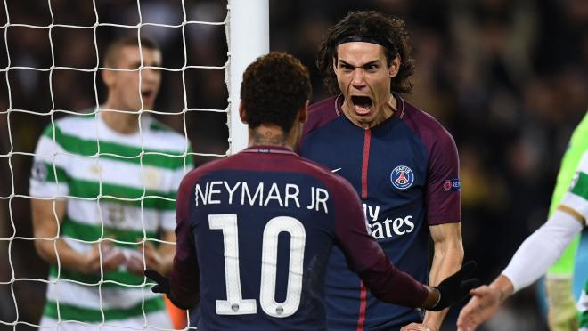 Edison Cavani and Neymar Celebrate Goal Against Celtic