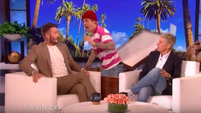Justin Bieber and David Beckham on Ellen