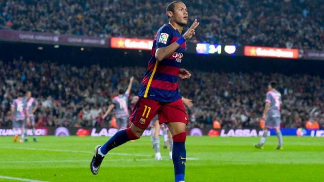 Neymar celebrates scoring four goals last weekend.