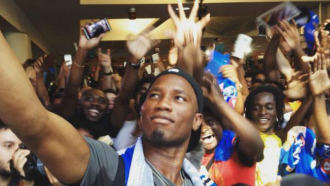 Drogba and fans.