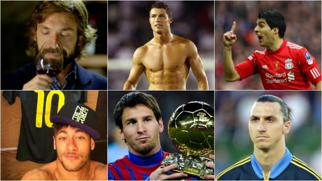 Pirlo, Ronaldo, Suarez, Neymar, Messi, Zlatan