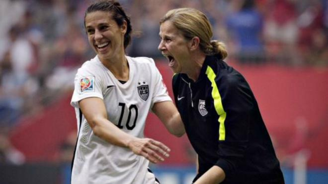 Jill Ellis and Carli Lloyd celebrating