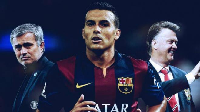 Pedro pictured between Jose Mourinho and Louis van Gaal.