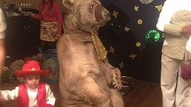 Russian Player Hires Live Bear For Son's Birthday Party
