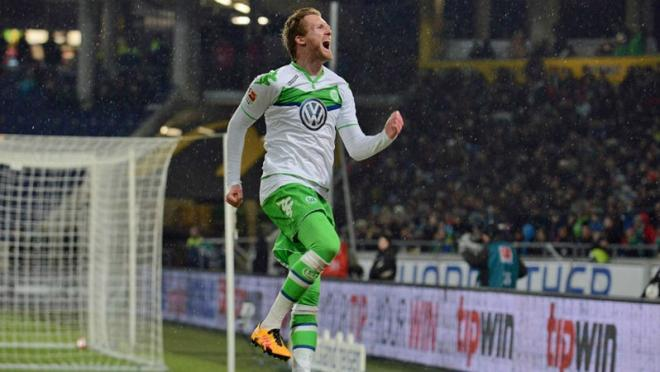 Andres Schurrle celebrates his goal against KAA Gent in Champions League.