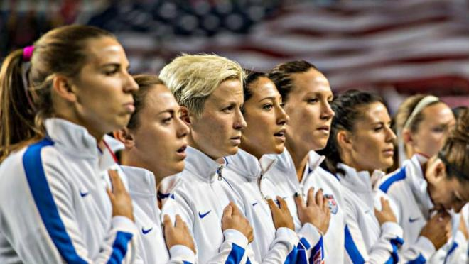 The United States Women's National Team sings the National Anthem