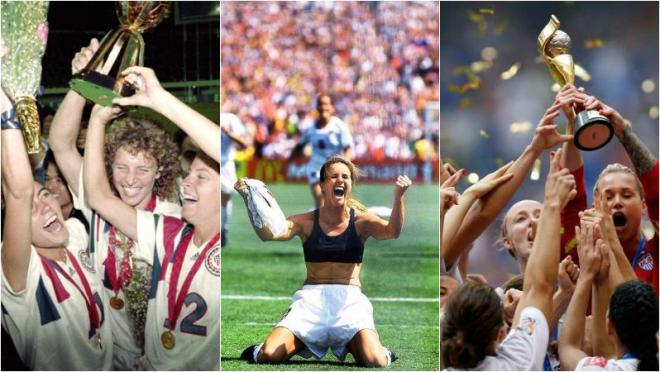 the USWNT winning the world cup in 1991, 1999, 2015.