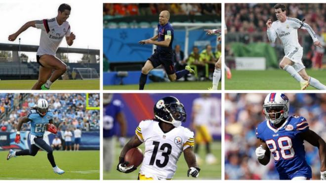 Soccer stars Cristiano Ronaldo, Arjen Robben, Gareth Bale, and NFL stars Chris Johnson, Dri Archer and Marquise Goodwin