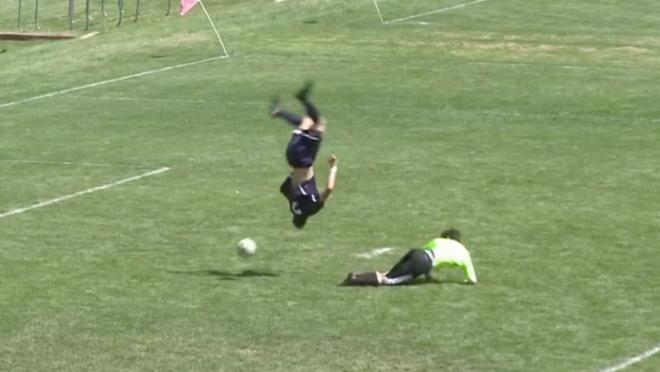 The amazing somersault goal.
