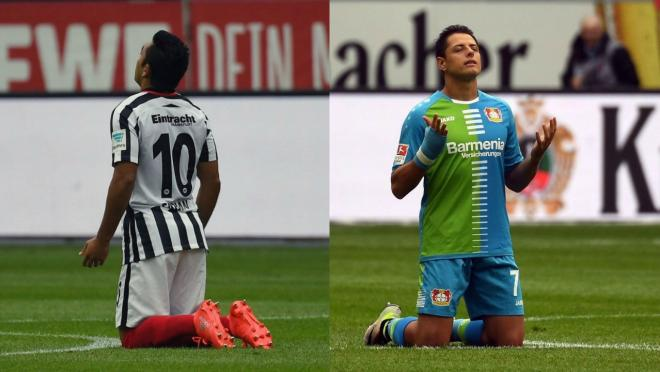 Marco Fabian and Chicharito face off in the Bundesliga.