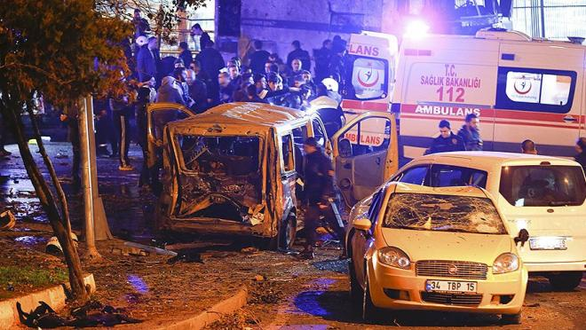 The aftermath of Besiktas bomb explosions near Vodafone Arena in Istanbul, Turkey