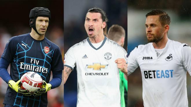 Petr Cech, Zlatan Ibrahimovic and Gylfi Sigurdsson