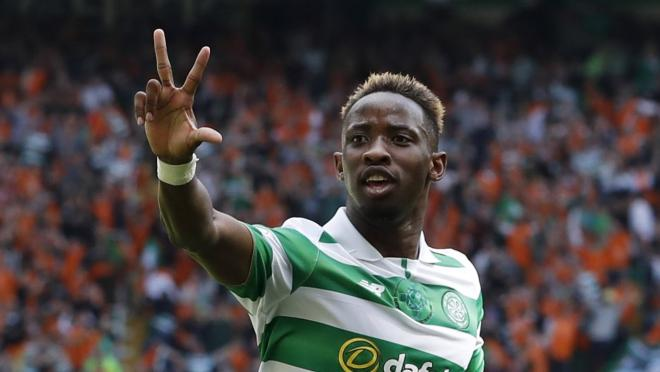 Moussa Dembele celebrates his 5th goal for Celtic versus Rangers