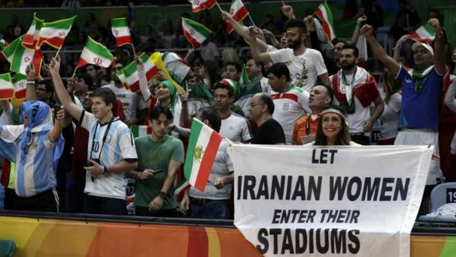 """Let Iranian women enter their stadiums"""