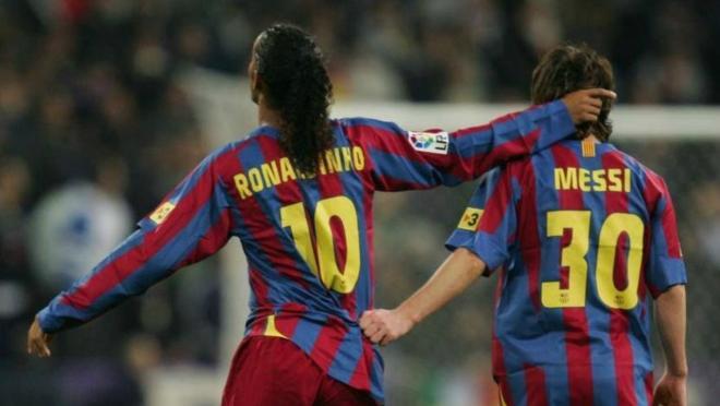 Ronaldinho and Lionel Messi
