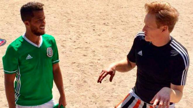 Conan O'Brien and Giovani Dos Santos