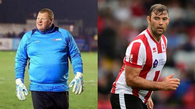 The players of Lincoln City and Sutton United