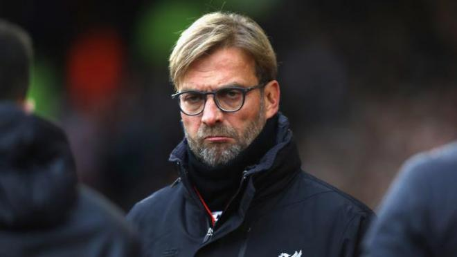 Liverpool manager Jurgen Klopp looking sad