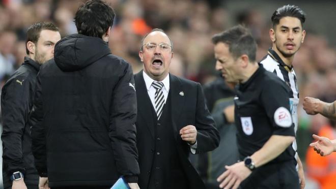 Rafa Benitez  and Keith Stroud