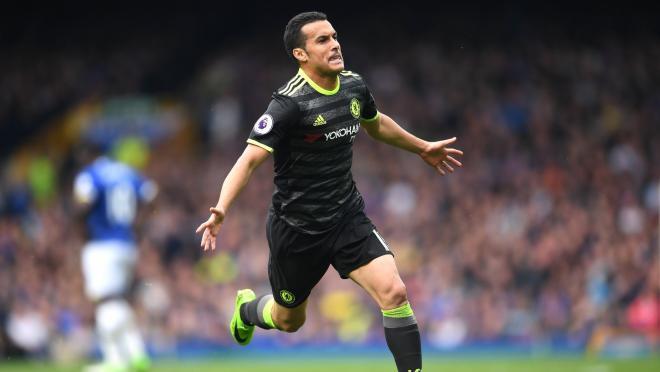 Pedro celebrates after a left-footed wonder goal for Chelsea against Everton