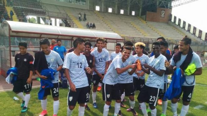 India's U17 team pulled off an upset against Italy's U17 side