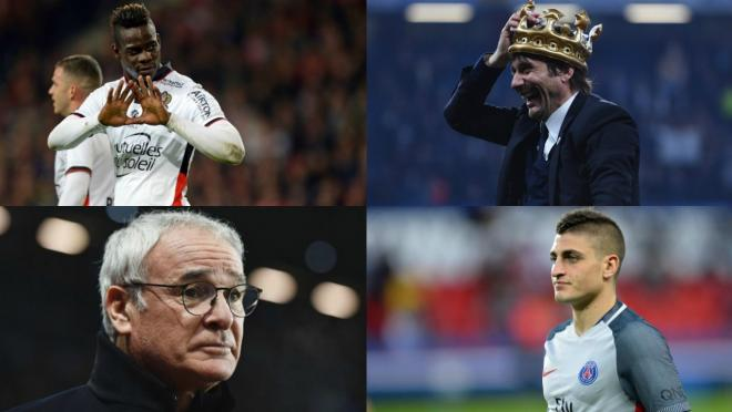 Mario Balotelli, Claudio Ranieri, Antonio Conte and Marco Verratti