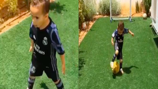 Young Ronaldo fan shows off skills