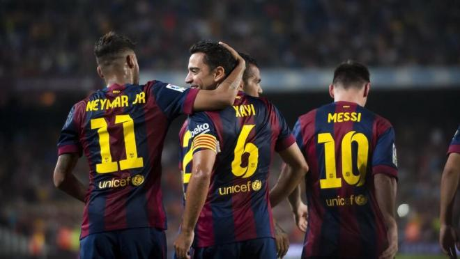 Neymar, Xavi and Messi