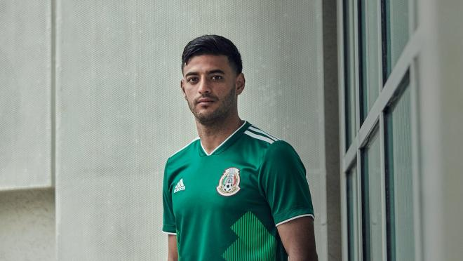 Mexico World Cup kit worn by Carlos Vela