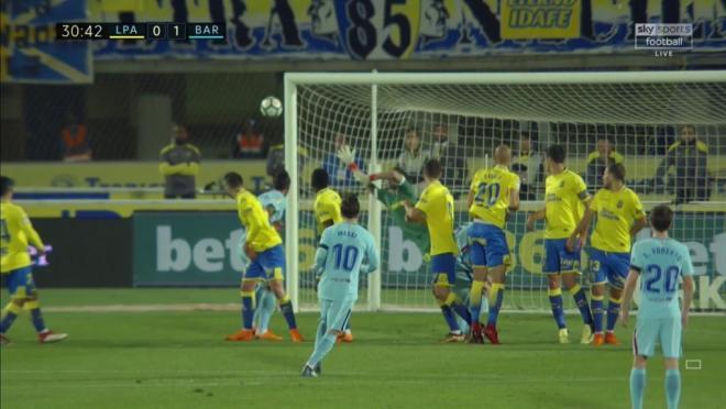 Lionel Messi free kick vs Las Palmas