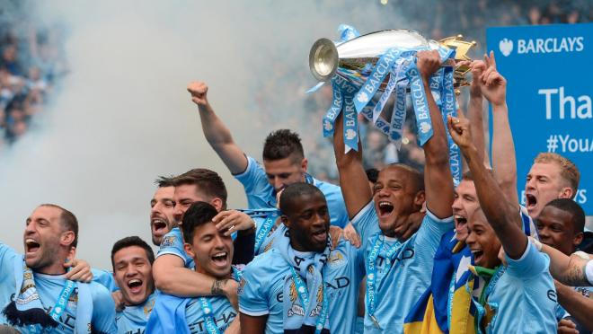City players celebrate. Manchester City records this season will be an impressive.