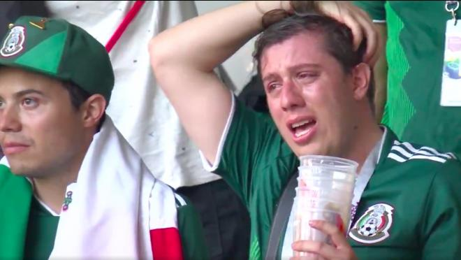 Mexico fan crying after Brazil defeat