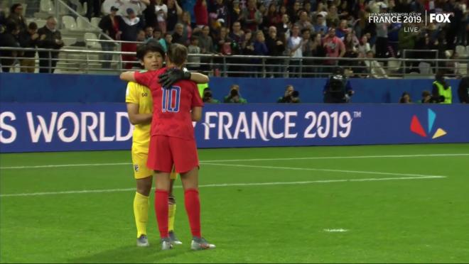 Thailand Goalkeeper Sukanya Chor Charoenying consoled by Carli Lloyd